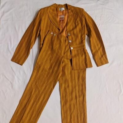 Kenar striped orange linen suit