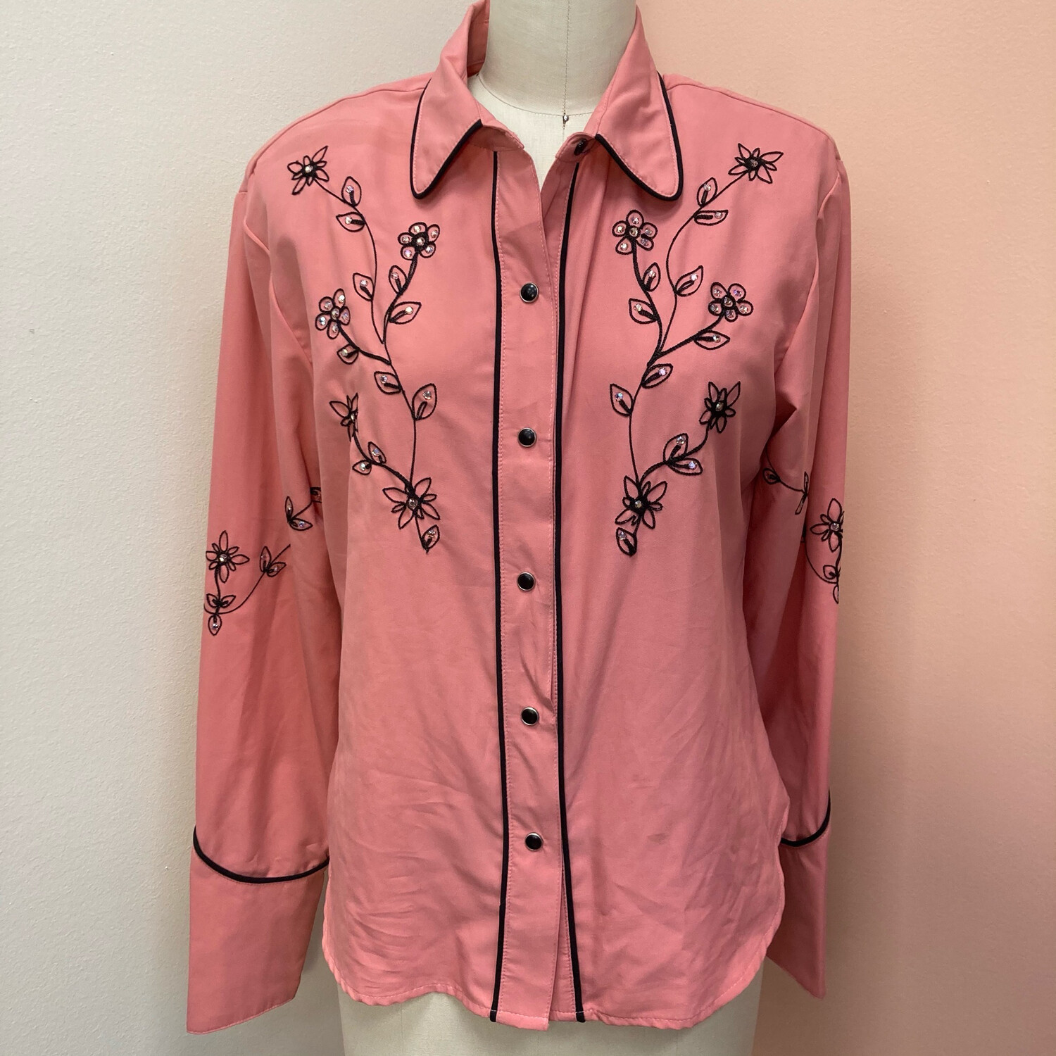 70s Western Pink Pearl Snap Blouse