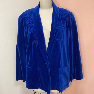 Royal Blue Velvet Blazer