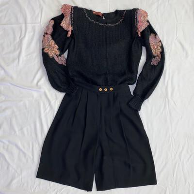 High-Waist Black Pleated Shorts