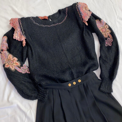 Black Mohair Sweater w/ Floral Detailing