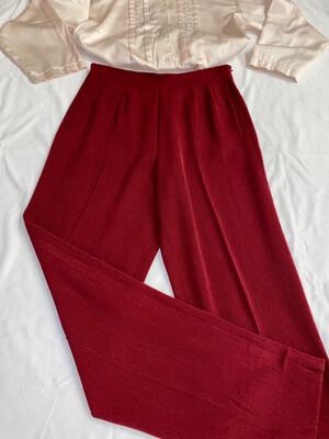Red High-Waist Slacks