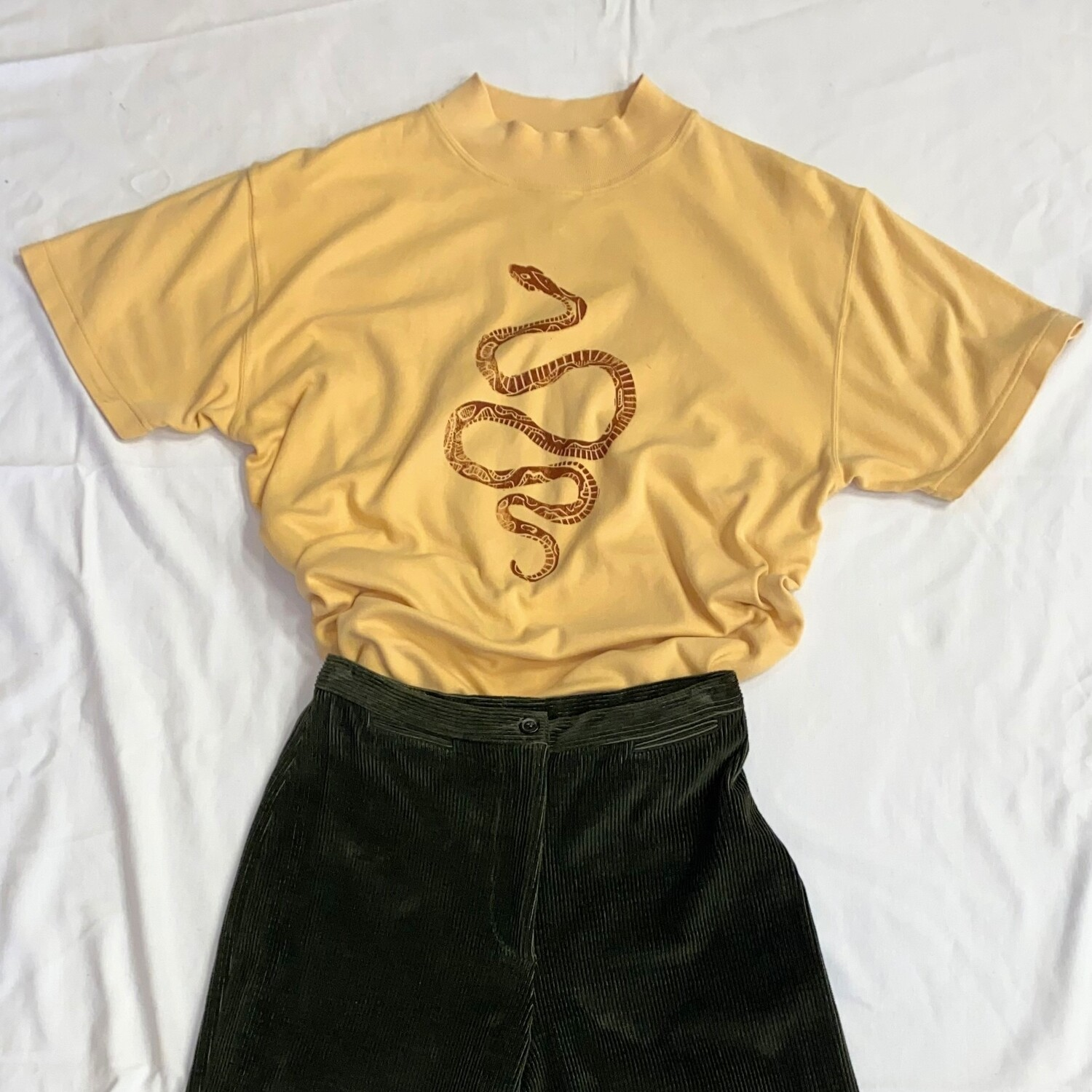 Block-Printed Mock Neck Snake Tee