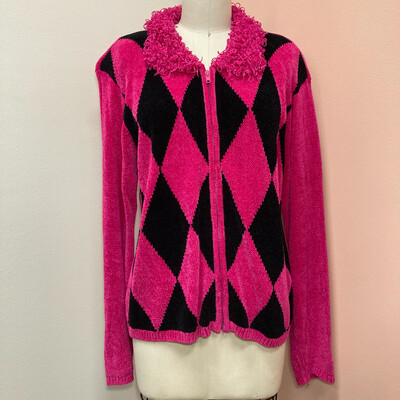 Pink & Black Chenille Argyle Sweater