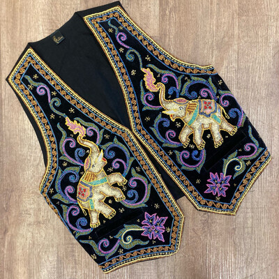Elephant Embroidered Sequin Vest