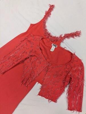 Maureen Keene Hot Pink Dress + Cardigan with Boucle Trim