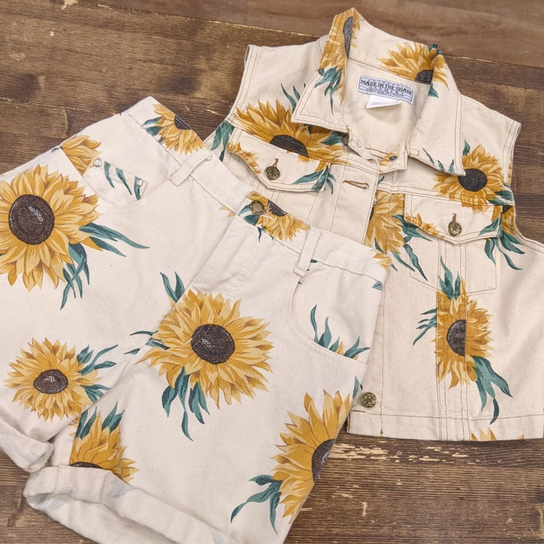 Sunflower Denim Shorts + Vest