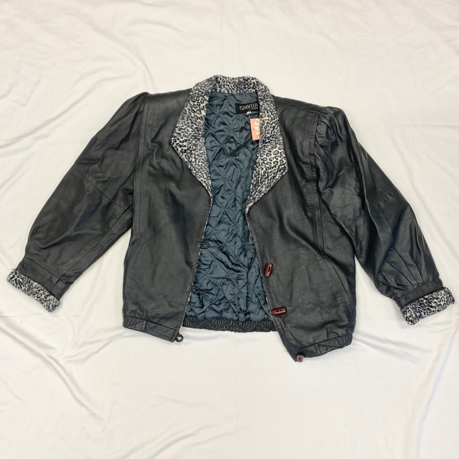 Isabella Charcoal Grey Leather Jacket with Faux Leopard Collar