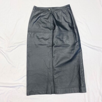 Charcoal Grey Leather Skirt