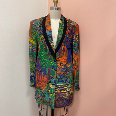 1980's Platinum Collection Colorful Abstract Blazer