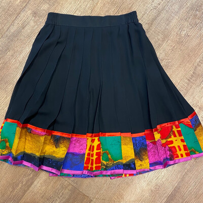 Louis Feraud Black Pleated Skirt With Colorful Trim