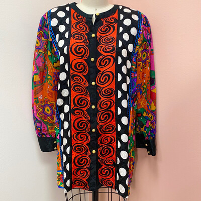Diane Freis Multicolored 1980s Silk Blouse