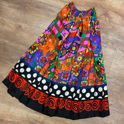 Diane Freis Colorful Silk 1980s Skirt
