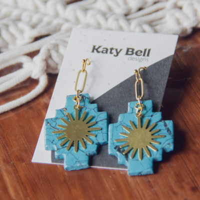 Katy Bell Designs Cyan Polymer Clay Earrings