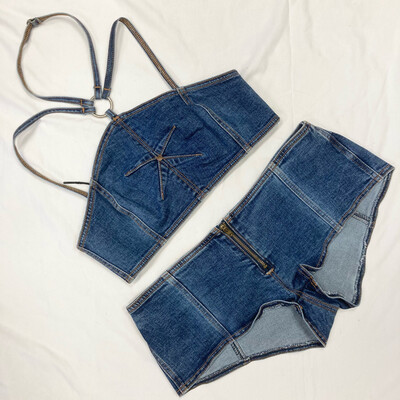 Denim Bebe Two-Piece Halter & Shorts