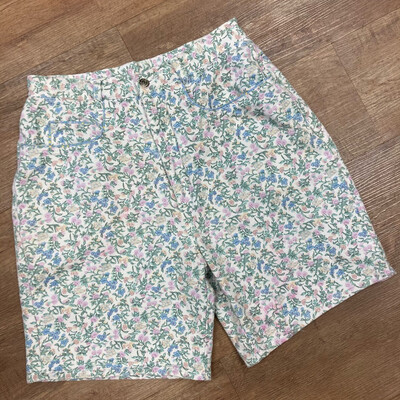 High-Waist Vintage Denim Floral Shorts
