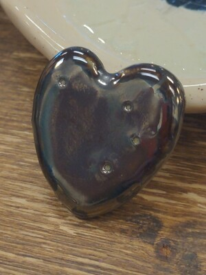 Handmade Ceramic Metallic Heart Ring