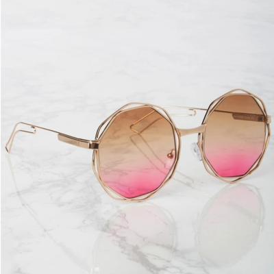 Gold Hexagon Frame Sunnies