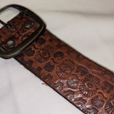 Stamped Leather Eyes Belt