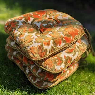 Orange + Olive Green 1960s Velvet Floral Cushions