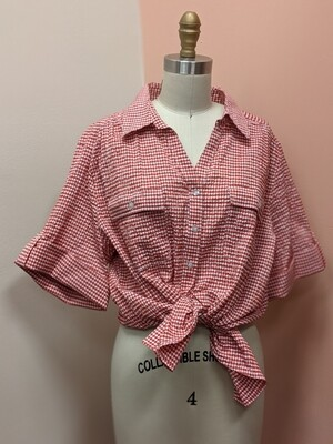 Red Gingham Button-Up