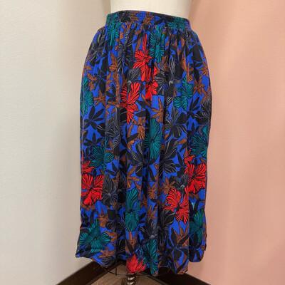 Vintage Blue Elastic Waist Skirt