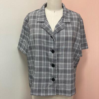 90s Black & Grey Plaid Button-Up