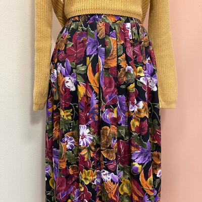 Vintage Floral Elastic Waist Skirt