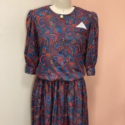Vintage Floral Paisley Dress