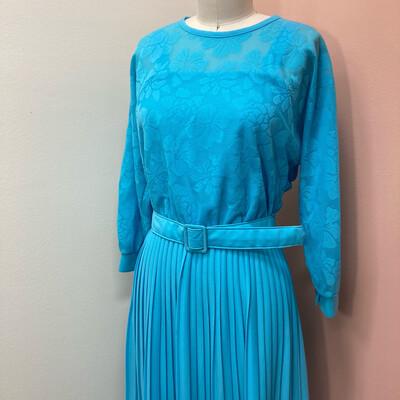 Vintage Blue Pleated Dress