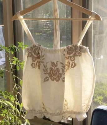 Cross-Stitch Linen Blouse