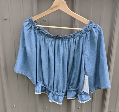 Chambray Cropped Blouse with Antique Lace
