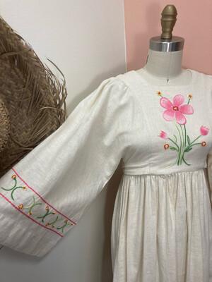 1970s Handmade Embroidered Boho Maxi Dress