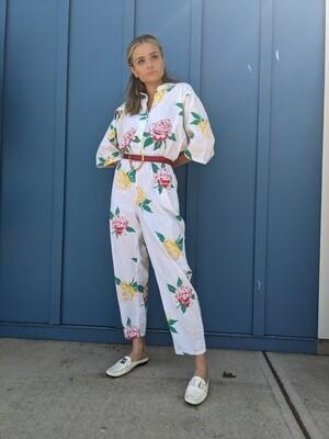 Cotton Floral 1980s Jumpsuit
