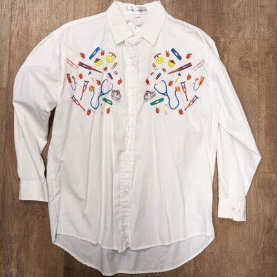 Embroidered Nurse Button-Up