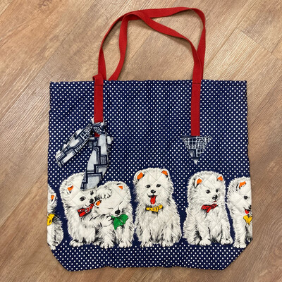 Upcycled Quilted Puppies Bag