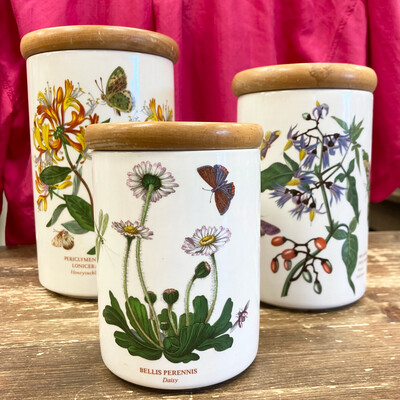 1970s Portmeirion Canisters With Wood Lid   Set Of 3