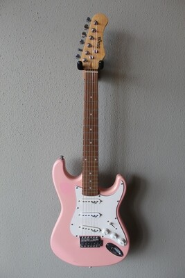 Used Stagg 3/4 Size Electric Guitar with Gig Bag - Pink
