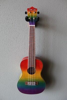 Amahi PGUK555C Flamed Maple Rainbow Concert Ukulele with Gig Bag