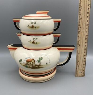 Stacked Teapot Creamer Sugar & Plate