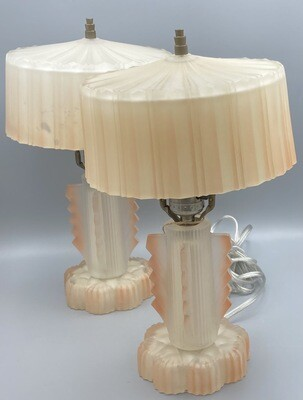 Art Deco Pink Boudoir Lamp Pair