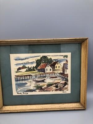 Ceri  B Jones 1950s Rocky Inlet Watercolor