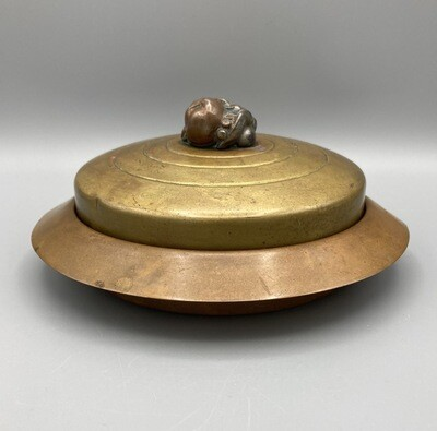 Round Chase Usa Copper Dish W/Glass Liner, Brass Lid