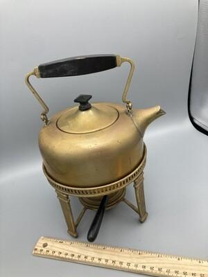 S. Sternau & Co Brass Tea Pot on Stand W/Burner