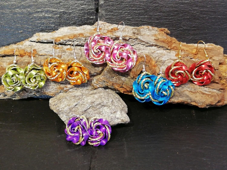 Earrings multicolor roses - Handmade  by Corinna Kirchhof