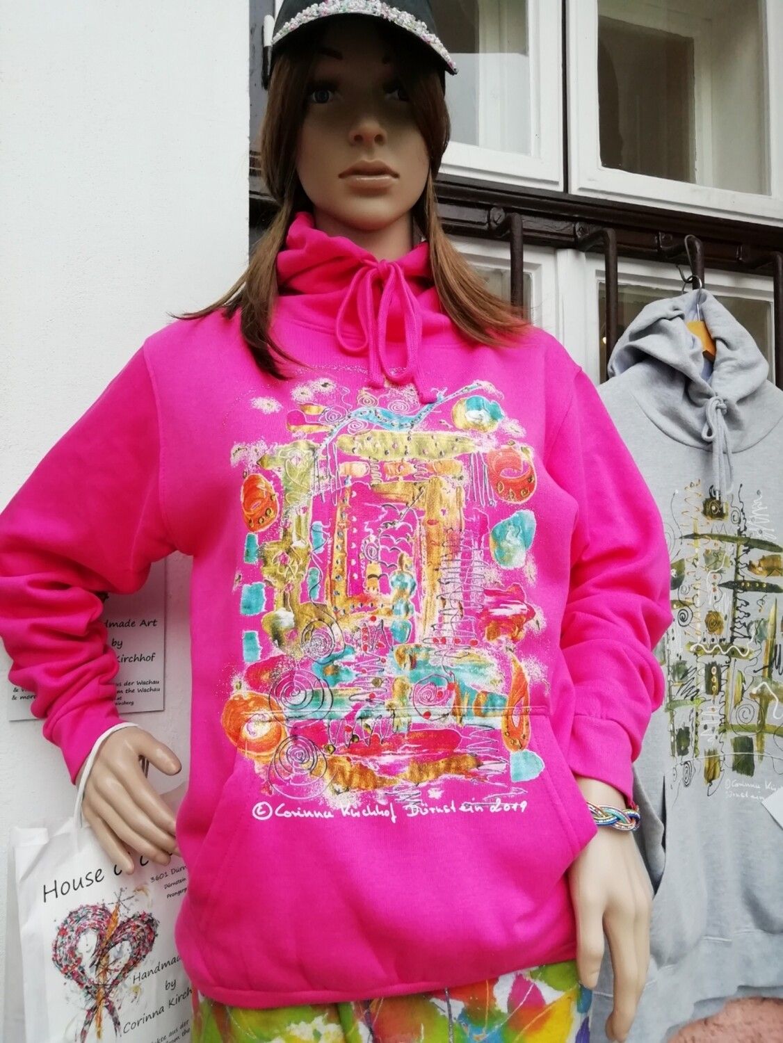 "Hooded Sweatshirt pink Unisex designed by Corinna Kirchhof - Design ""The Window""  S - 5 XL"