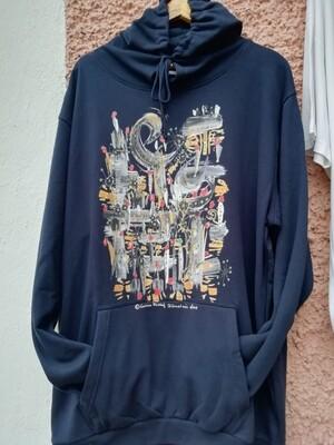 "Hooded Sweatshirt dark navy designed by Corinna Kirchhof - Design ""The Sundowner""  S - 5 XL"