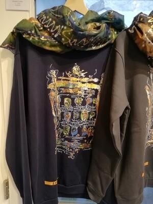 "Sweatshirt Dark Navy Unisex designed by Corinna Kirchhof - Design ""Pirates of the Danube 2"" /  S - 5 XL"
