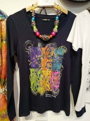"""T-Shirt for women in dark navy with long sleeve S - 3 XL -  Design """"The Vignette"""""""