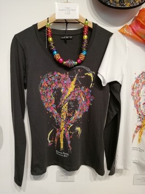 """T-Shirt for women in dark grey with long sleeve S - 3 XL -  Design """"The Heart"""""""